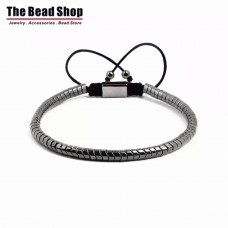 Unique Snake Design Natural Hematite Bead Macrame Bracelet - Black