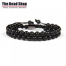 Shine Black Double Natural Black Onyx Macrame Bracelet