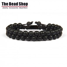 Matte Black Double Natural Black Onyx Macrame Bracelet