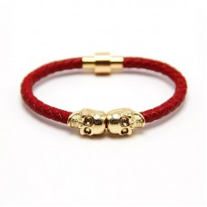 Twin Head Skull Red Leather Bracelet - Gold