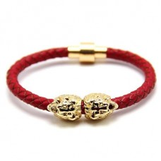Twin Head Lion Red Leather Bracelet - Gold