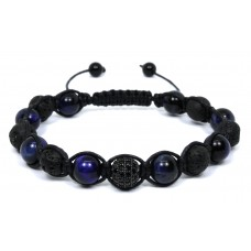 Shamballa Blue Tiger Eye with Lava Stone Bracelet - Black