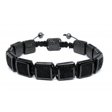 Square Inlay Macrame Bracelet - Black