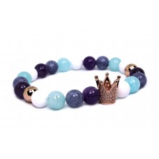 Crown Beaded Bracelet - Amazonite/Amethyst