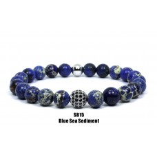 Blue Sea Sediment Beaded Bracelet