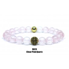 Clear Pink Quartz Beaded Bracelet