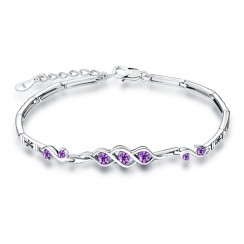 925 Silver Sterling Bracelet -Purple CZ (SLS13)