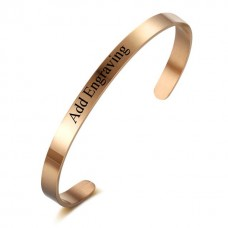 Personalized Engraving Stylish Stainless Steel Bangle - Rose Gold/Silver