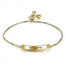 Personalized Engraving Sleek Brass Bangle - Silver/Gold