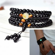 Gorgeous 108 Black Onyx Mala Beads Luminous Bracelet (Glow in the dark bead)