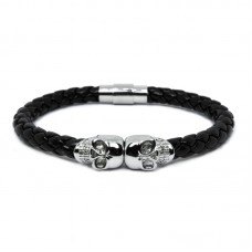 Twin Skull Leather Bracelet - Gold/Silver/Black