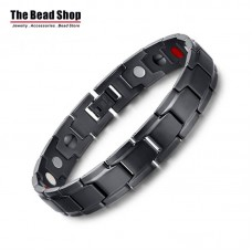 Men's 12mm Width Full Black Magnetic Health Care Bracelets