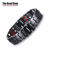 Men's 15mm Full Black Magnetic Health Care Bracelets