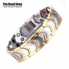 Men's 15mm Silver with Gold Line Arrow Design Magnetic Health Care Bracelets
