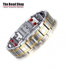 Men's 15mm Silver with Gold Line Magnetic Health Care Bracelets