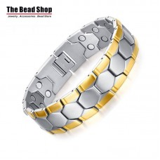 Men's 15mm  Hexagon Design Silver with Gold Line Magnetic Health Care Bracelets