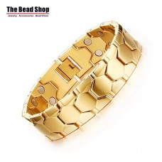 Men's 15mm Hexagon Design Full IP Plating Gold Magnetic Health Care Bracelets