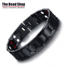Men's 15mm Hexagon Design Full IP Plating Black Magnetic Health Care Bracelets