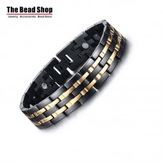 Men's 15mm Black and Double Gold Line Magnetic Health Care Bracelets
