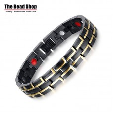 Men's 12mm Black with Gold Line Magnetic Health Care Bracelets