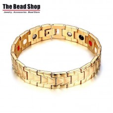 Men's 13mm IP Gold Plating Arrow Design Magnetic Health Care Bracelets