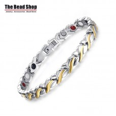 Women's Silver with IP Gold Plating Magnetic Health Care Bracelets