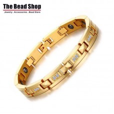 Women's Full IP Gold Plating  with CZ Stone Magnetic Health Care Bracelets