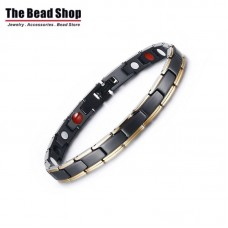 Women's Black with Gold IP Gold Plating  with CZ Stone Magnetic Health Care Bracelets