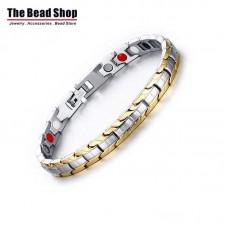 Women's Silver with Gold IP Gold Plating Magnetic Health Care Bracelets