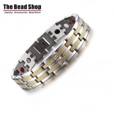 Men's Silver with Gold Arrow Line Design Magnetic Health Care Bracelets