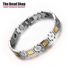 Men's luxury Gold Plating Inlay Magnetic Health Care Bracelets