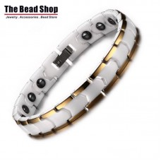 Women White Ceramic with Gold Line Plating Magnetic Health Care Bracelets