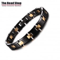 Women Black Ceramic with Gold Line Plating Magnetic Health Care Bracelets