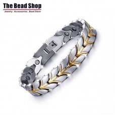 Men's and Women's Silver with Gold IP Plating Magnetic Health Care Bracelets