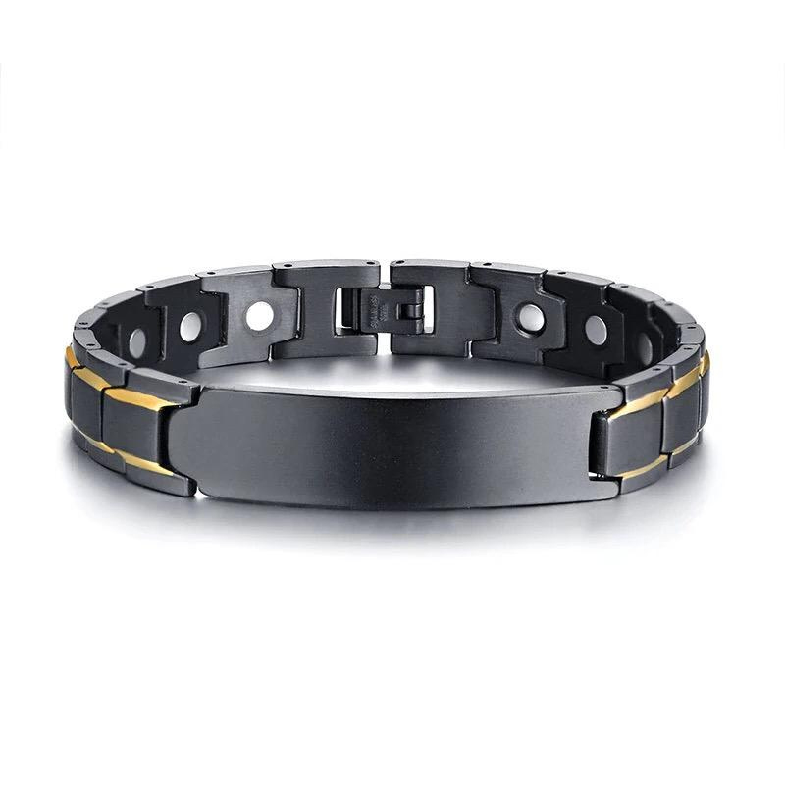63536ffd65096 Men Personalized Engraving Full Black With Gold Line Magnetic Bracelet