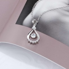 CZ Water Drop Dancing Stone Necklace 925 Sterling Silver (DDN17)