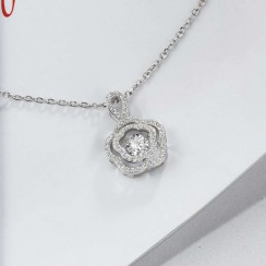 Elegant Flower Dancing Stone Necklace 925 Sterling Silver (DDN24)