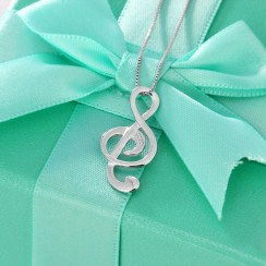 925 Silver Sterling Necklace - Music Note