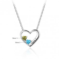Love Design Personalized Two Heart Birthstone Necklace