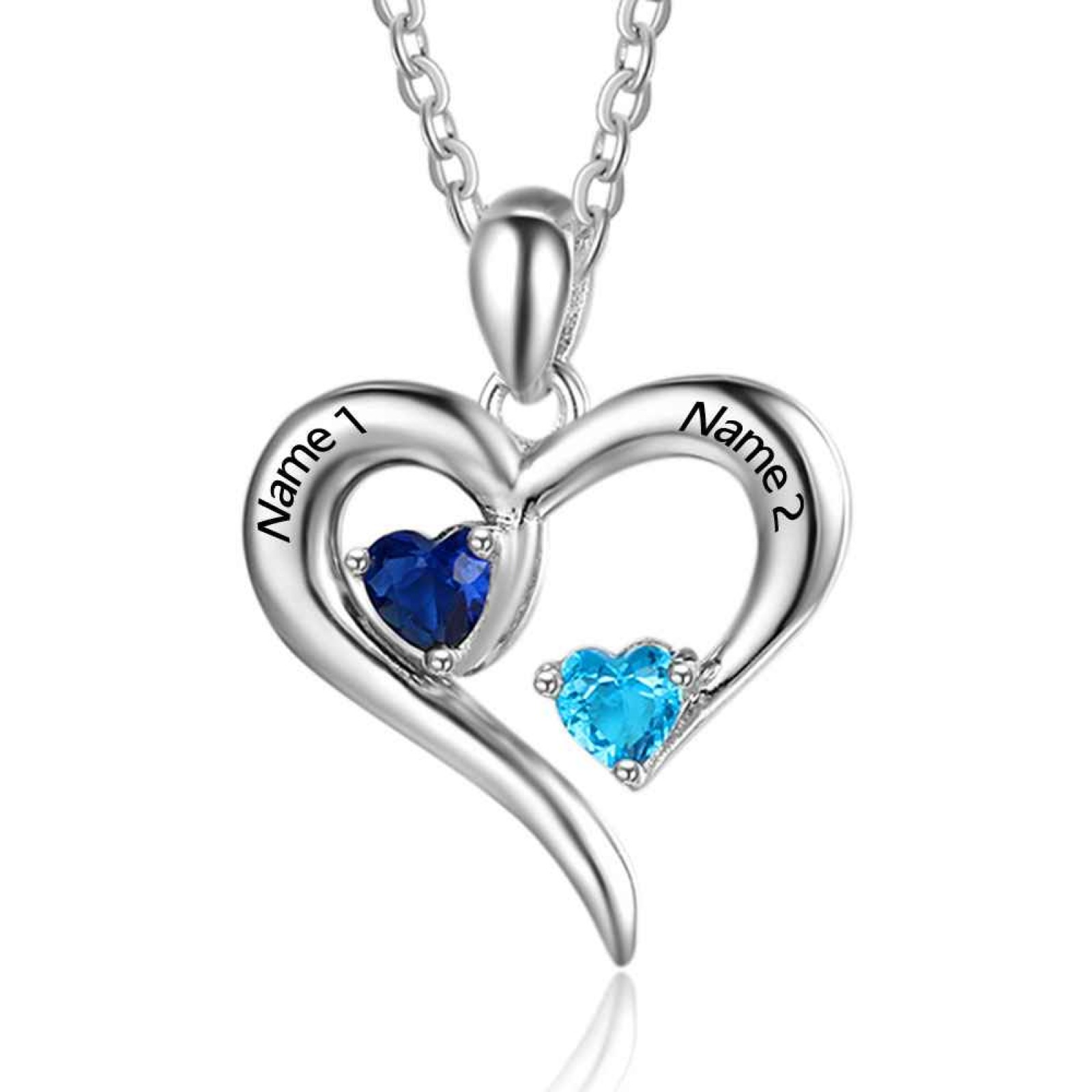 Love Design with Double Heart Birthstone Necklace