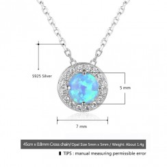 Round Blue Opal 925 Silver Sterling Necklaces (OJN101903)