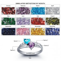 Double Heart Romance Birthstone Ring