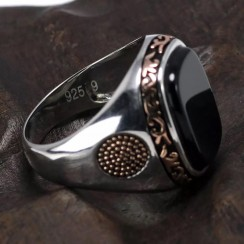 Silver with Rose Gold Design Real 925 Silver Men Natural Agate Gemstone Ring