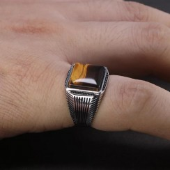 Natural Tiger Eye Stone Craft with Real 925 Silver Men Stone Ring