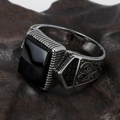 Natural Onyx Agate Cz Craft with Real 925 Silver Men Stone Ring