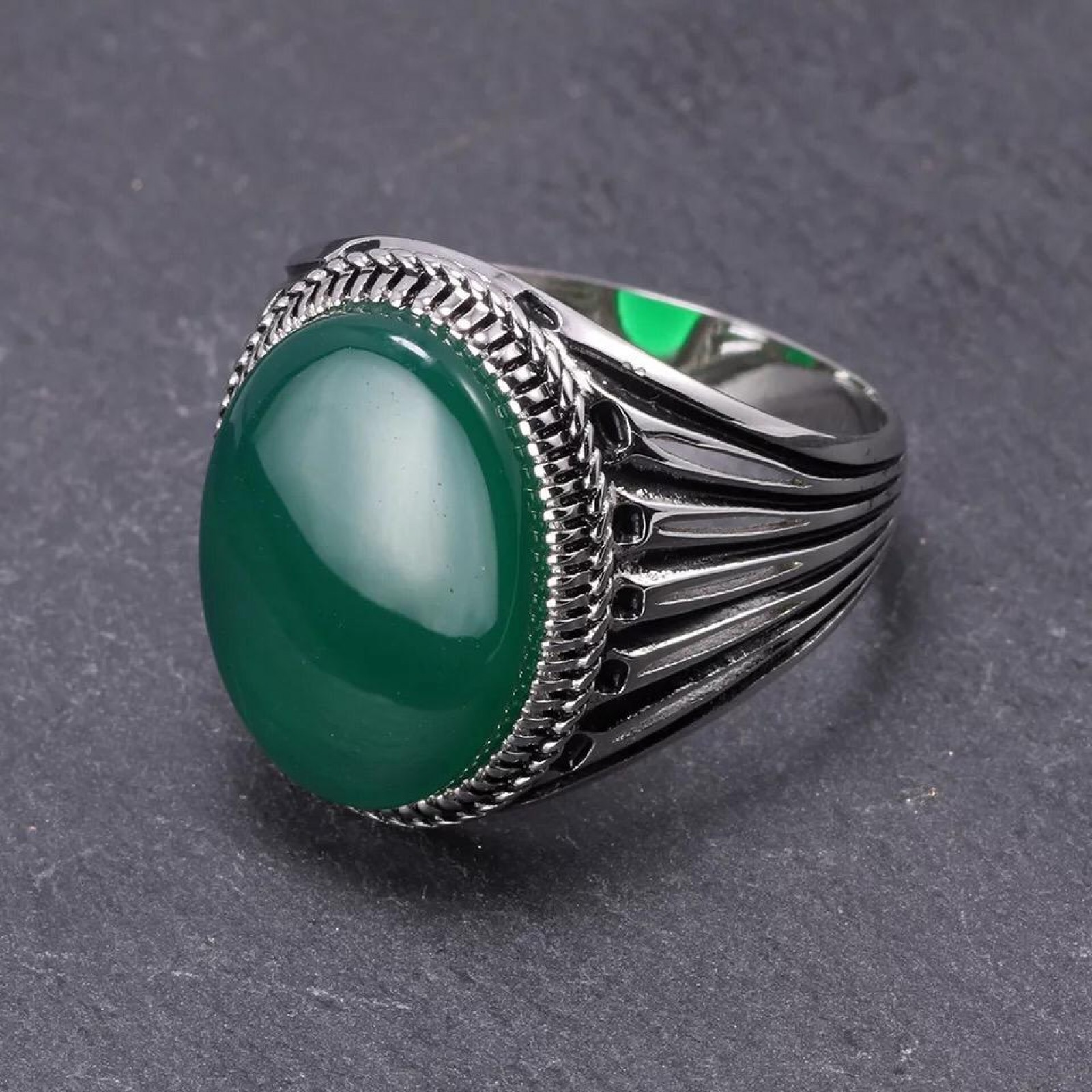 Real 925 Silver Men Oval Natural Agate Gemstone Ring