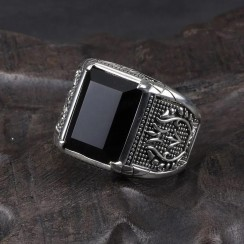Big Natural Onyx Agate Cz Craft with Real 925 Silver Men Stone Ring