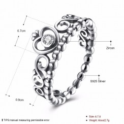 925 Silver Sterling Ring - Crown