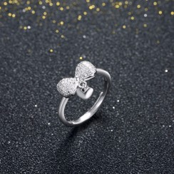925 Silver Sterling Ring - Bow Tie Love