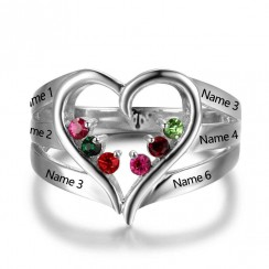 Big Heart Design with Six Birthstone Ring